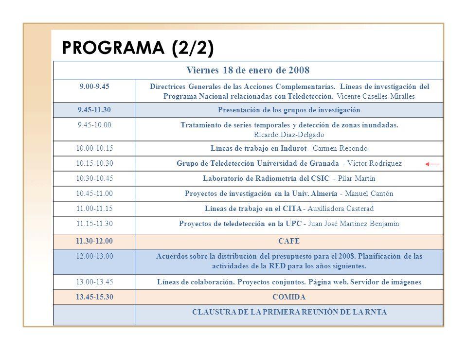 PROGRAMA (2/2) Viernes 18 de enero de 2008 9.00-9.45Directrices Generales de las Acciones Complementarias.