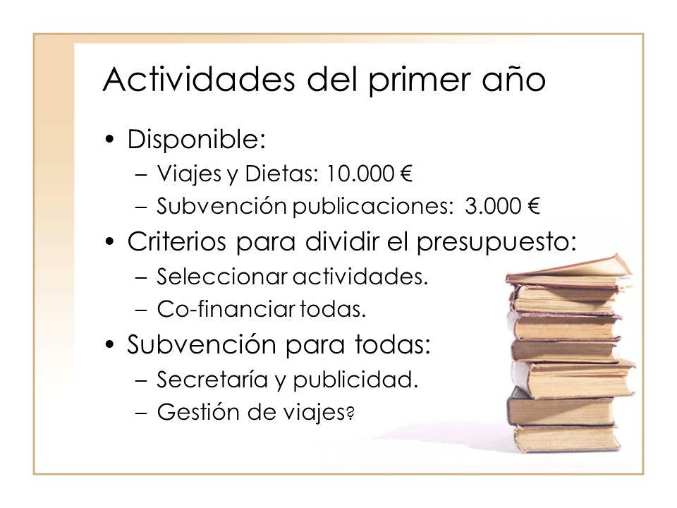 Actividades del primer año Disponible: –Viajes y Dietas: 10.000 –Subvención publicaciones: 3.000 Criterios para dividir el presupuesto: –Seleccionar actividades.