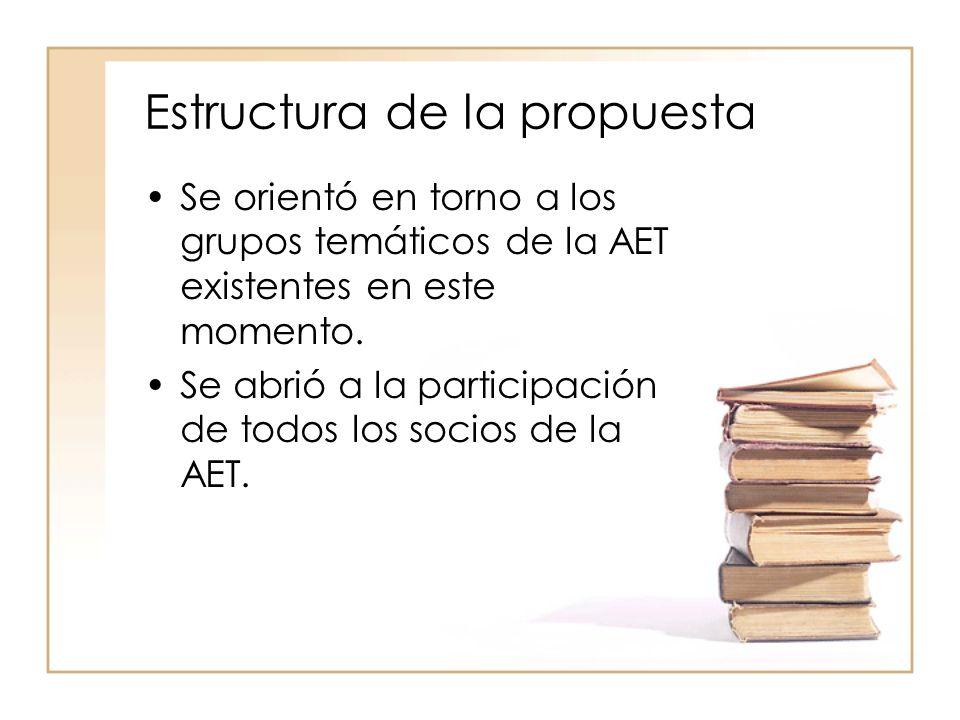 Estructura de la propuesta Se orientó en torno a los grupos temáticos de la AET existentes en este momento.