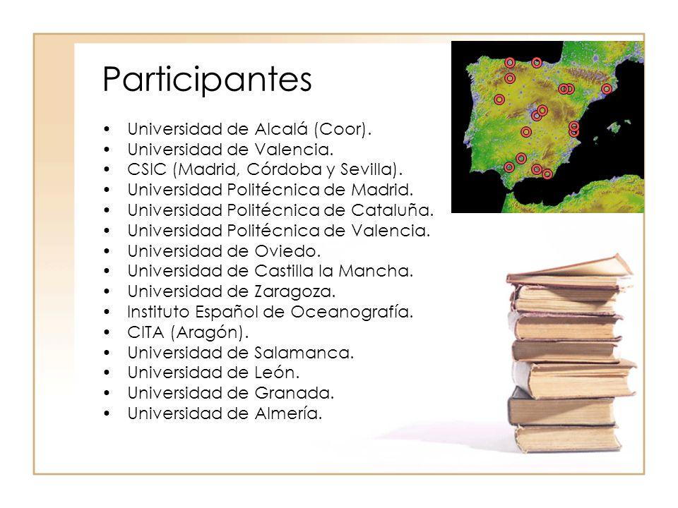Participantes Universidad de Alcalá (Coor).Universidad de Valencia.