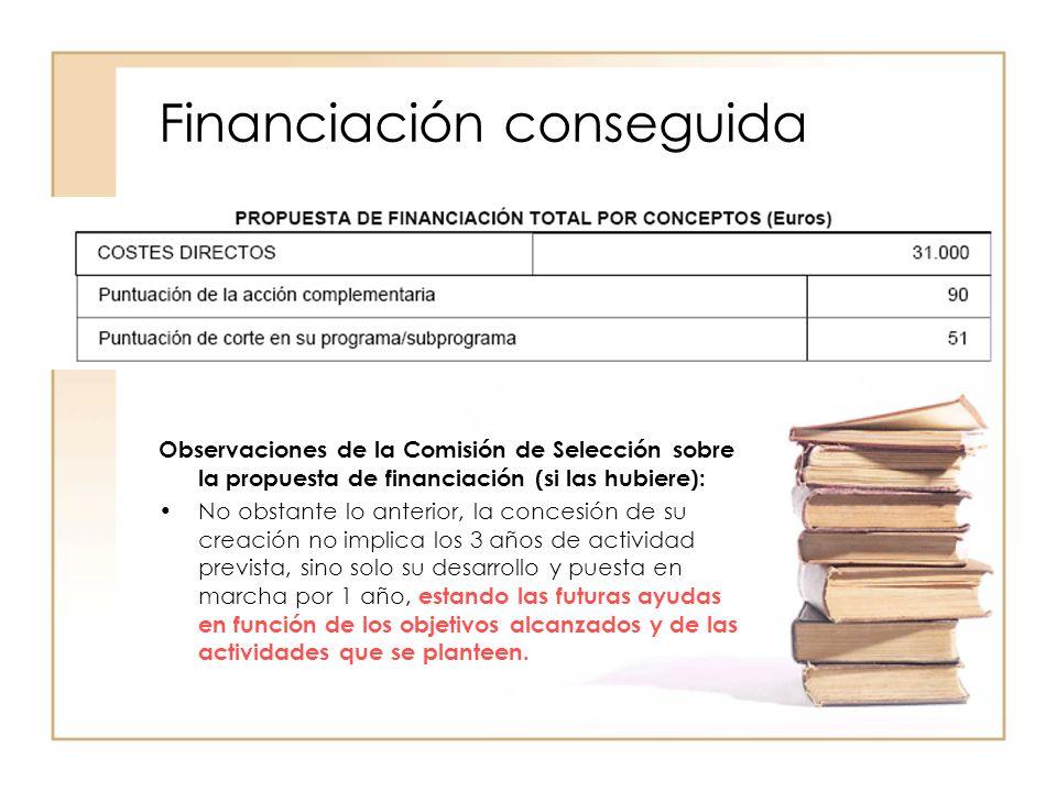Distribución de la Financiación Comprometido: Personal: Gestión de la web de la AET, Revista, actividades de la red: 12.000.