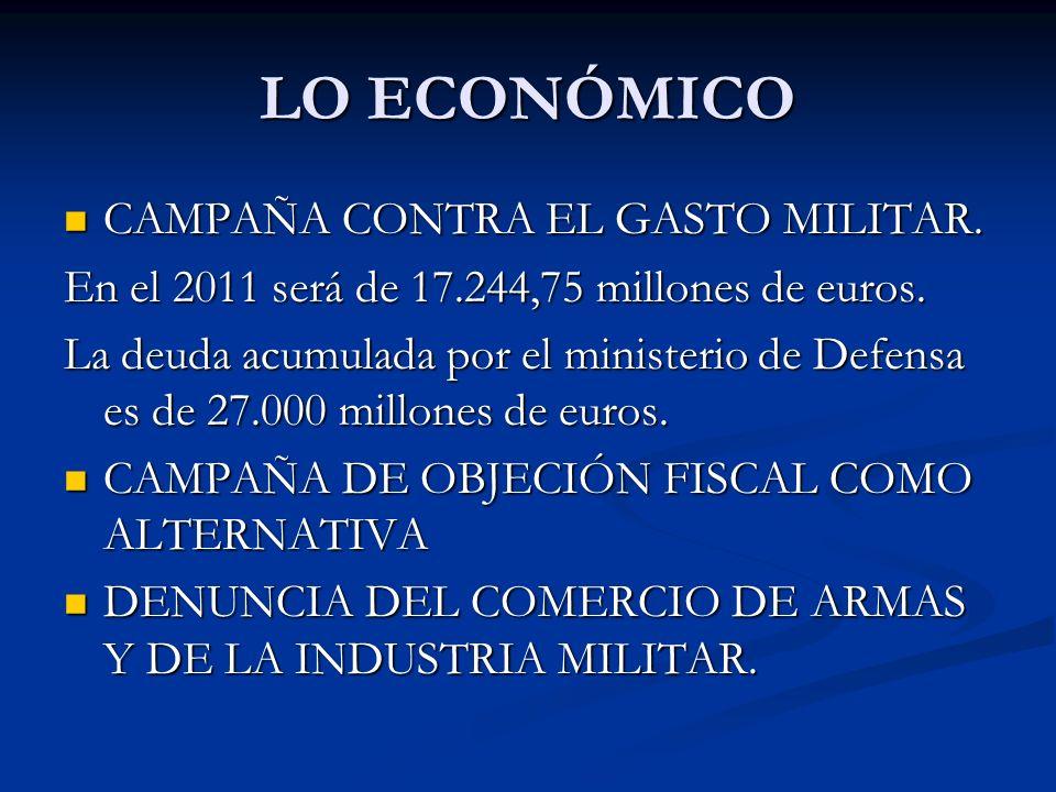 LO ECONÓMICO CAMPAÑA CONTRA EL GASTO MILITAR. CAMPAÑA CONTRA EL GASTO MILITAR.