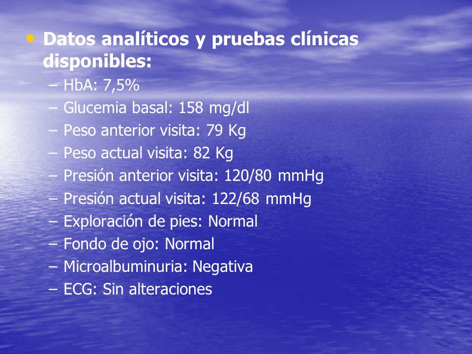 Datos analíticos y pruebas clínicas disponibles: – –HbA: 7,5% – –Glucemia basal: 158 mg/dl – –Peso anterior visita: 79 Kg – –Peso actual visita: 82 Kg