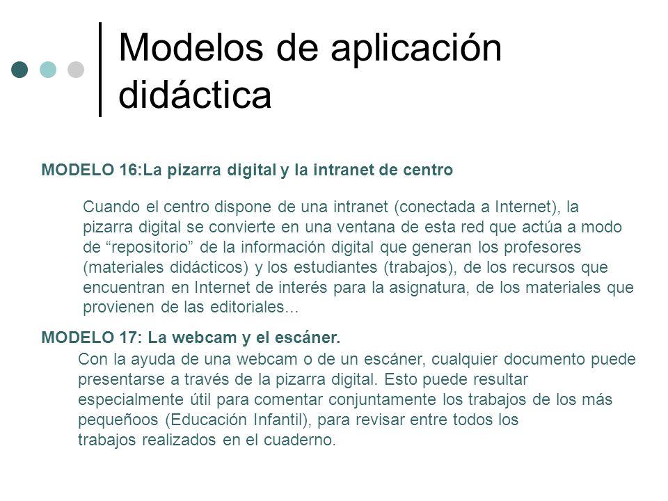 Modelos de aplicación didáctica MODELO 16:La pizarra digital y la intranet de centro Cuando el centro dispone de una intranet (conectada a Internet),