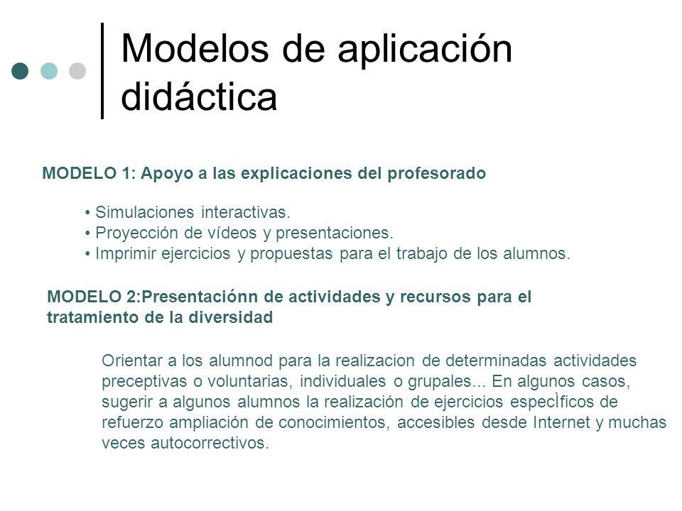 Modelos de aplicación didáctica MODELO 1: Apoyo a las explicaciones del profesorado Simulaciones interactivas. Proyección de vídeos y presentaciones.