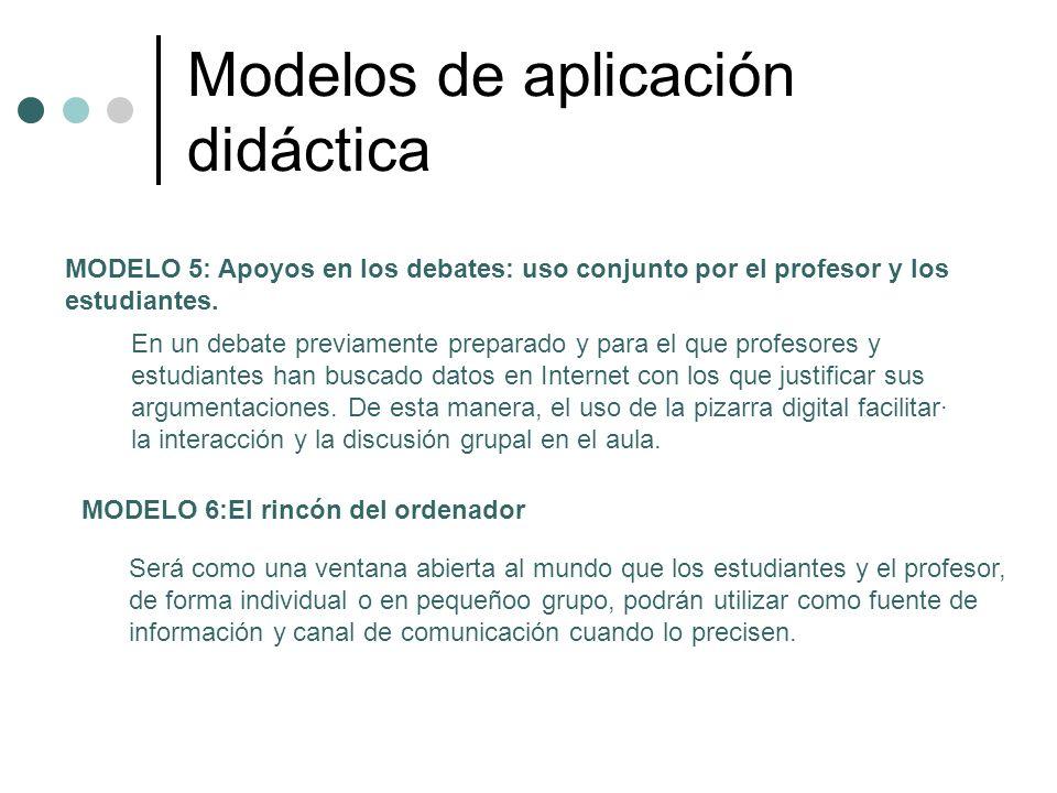 Modelos de aplicación didáctica MODELO 5: Apoyos en los debates: uso conjunto por el profesor y los estudiantes. En un debate previamente preparado y