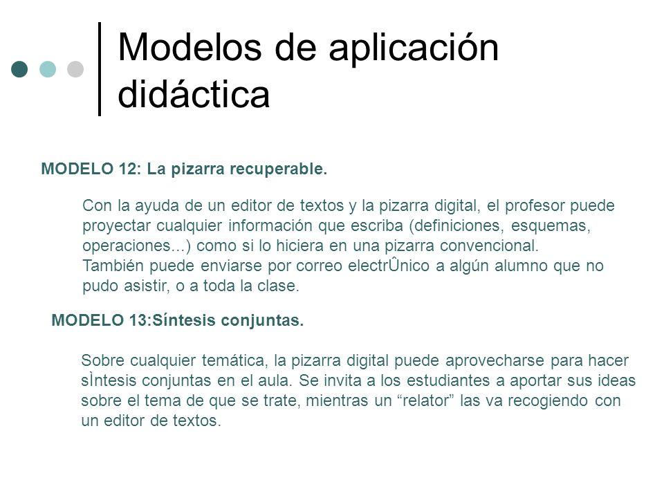 Modelos de aplicación didáctica MODELO 12: La pizarra recuperable. Con la ayuda de un editor de textos y la pizarra digital, el profesor puede proyect