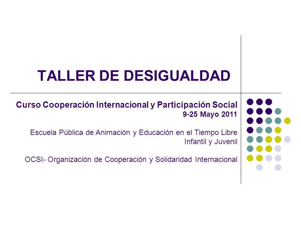 TALLER DE DESIGUALDAD Curso Cooperación Internacional y Participación Social 9-25 Mayo 2011 Escuela Pública de Animación y Educación en el Tiempo Libr