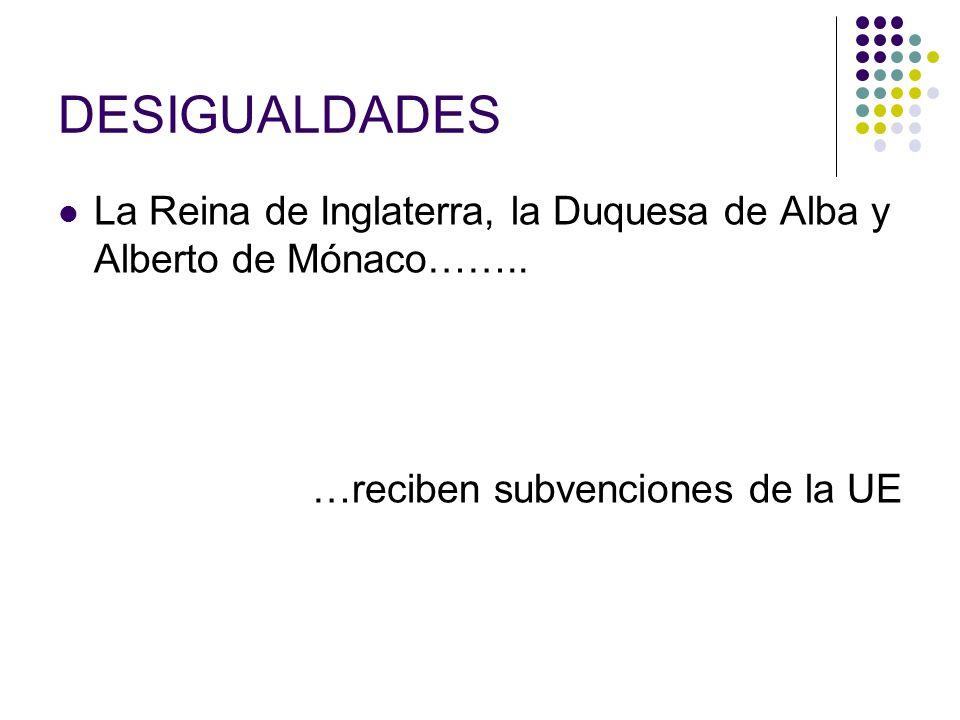 DESIGUALDADES La Reina de Inglaterra, la Duquesa de Alba y Alberto de Mónaco…….. …reciben subvenciones de la UE