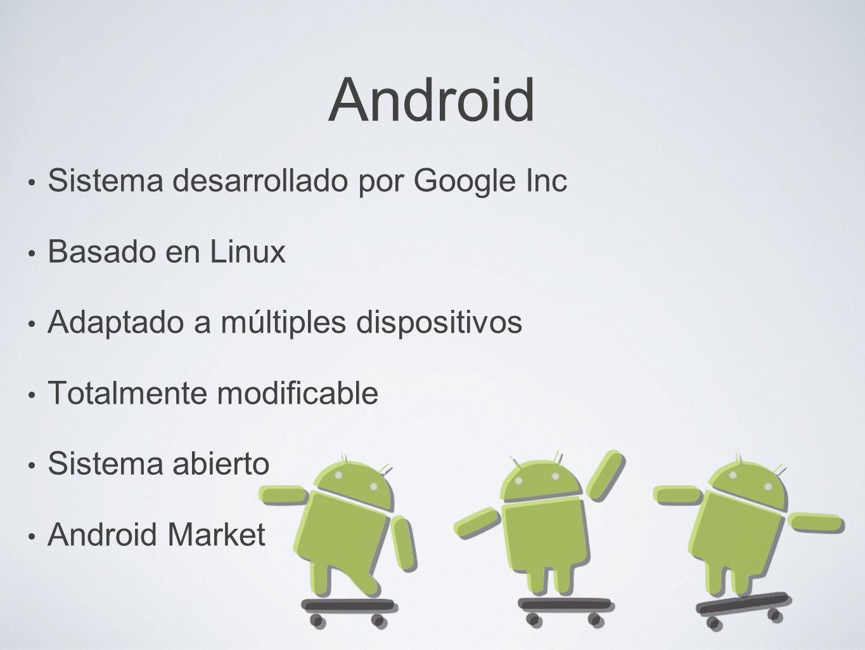 Android Sistema desarrollado por Google Inc Basado en Linux Adaptado a múltiples dispositivos Totalmente modificable Sistema abierto Android Market
