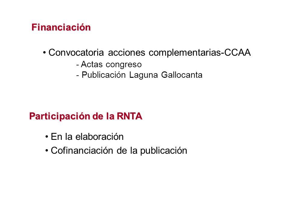 Financiación En la elaboración Cofinanciación de la publicación Participación de la RNTA - Actas congreso - Publicación Laguna Gallocanta Convocatoria