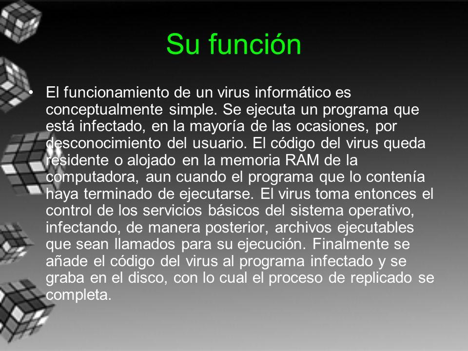 Su función El funcionamiento de un virus informático es conceptualmente simple. Se ejecuta un programa que está infectado, en la mayoría de las ocasio
