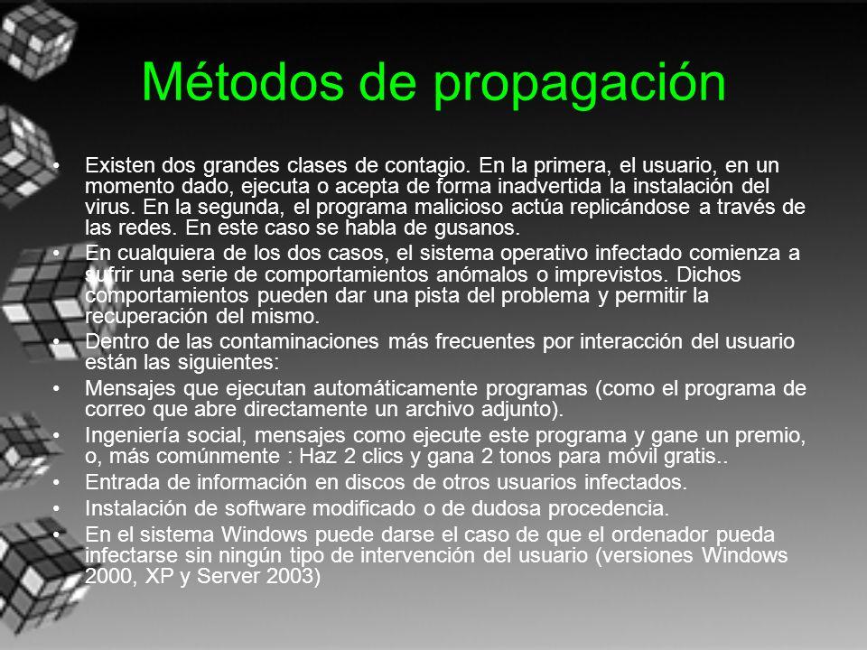 Métodos de propagación Existen dos grandes clases de contagio. En la primera, el usuario, en un momento dado, ejecuta o acepta de forma inadvertida la
