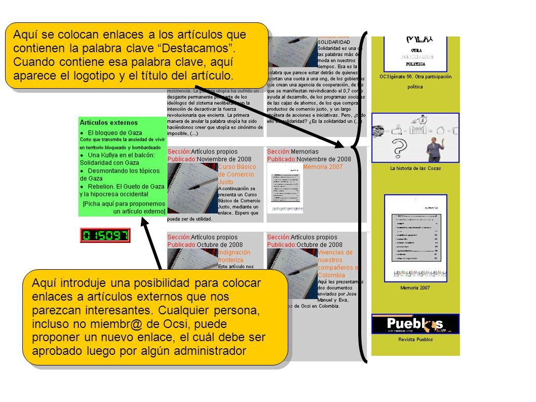 Aquí introduje una posibilidad para colocar enlaces a artículos externos que nos parezcan interesantes.