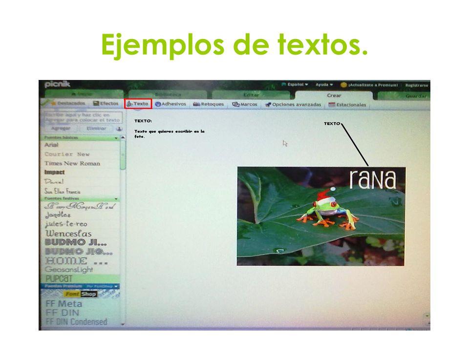 Ejemplos de textos.