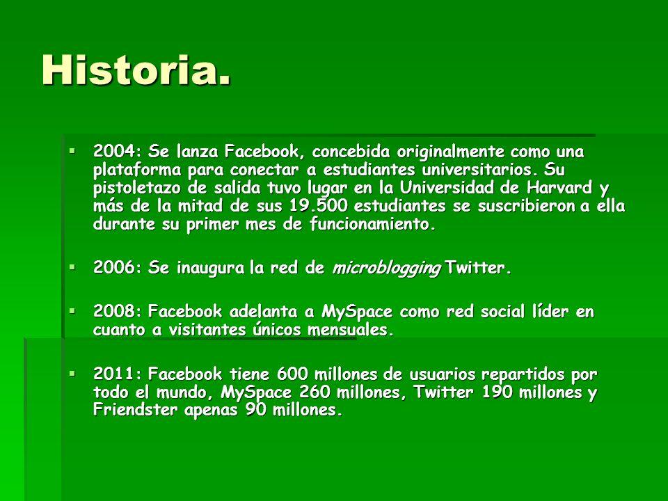 Historia. 2004: Se lanza Facebook, concebida originalmente como una plataforma para conectar a estudiantes universitarios. Su pistoletazo de salida tu