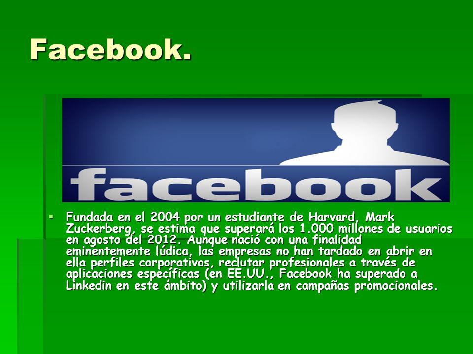 Facebook. Fundada en el 2004 por un estudiante de Harvard, Mark Zuckerberg, se estima que superará los 1.000 millones de usuarios en agosto del 2012.