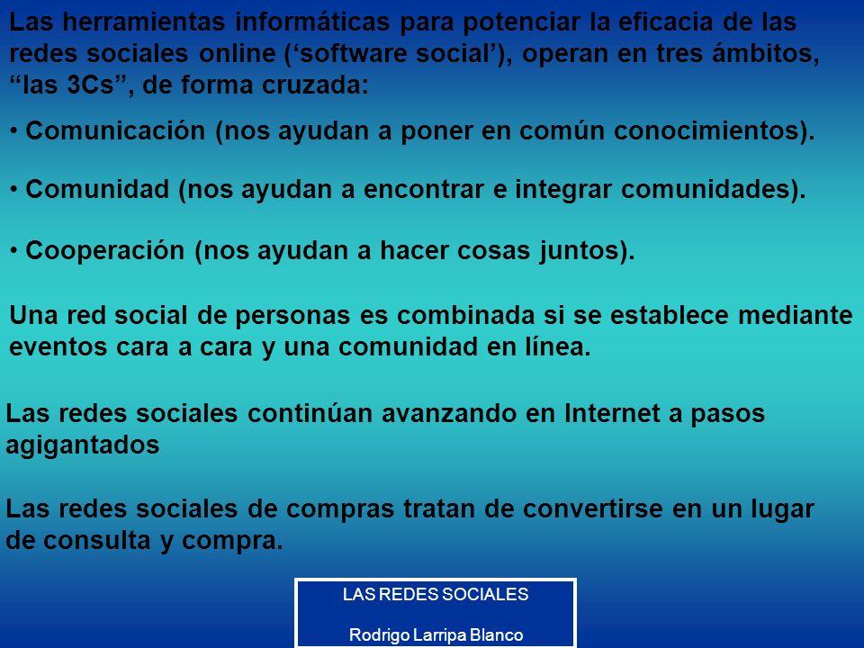 LAS REDES SOCIALES Rodrigo Larripa Blanco Las herramientas informáticas para potenciar la eficacia de las redes sociales online (software social), ope