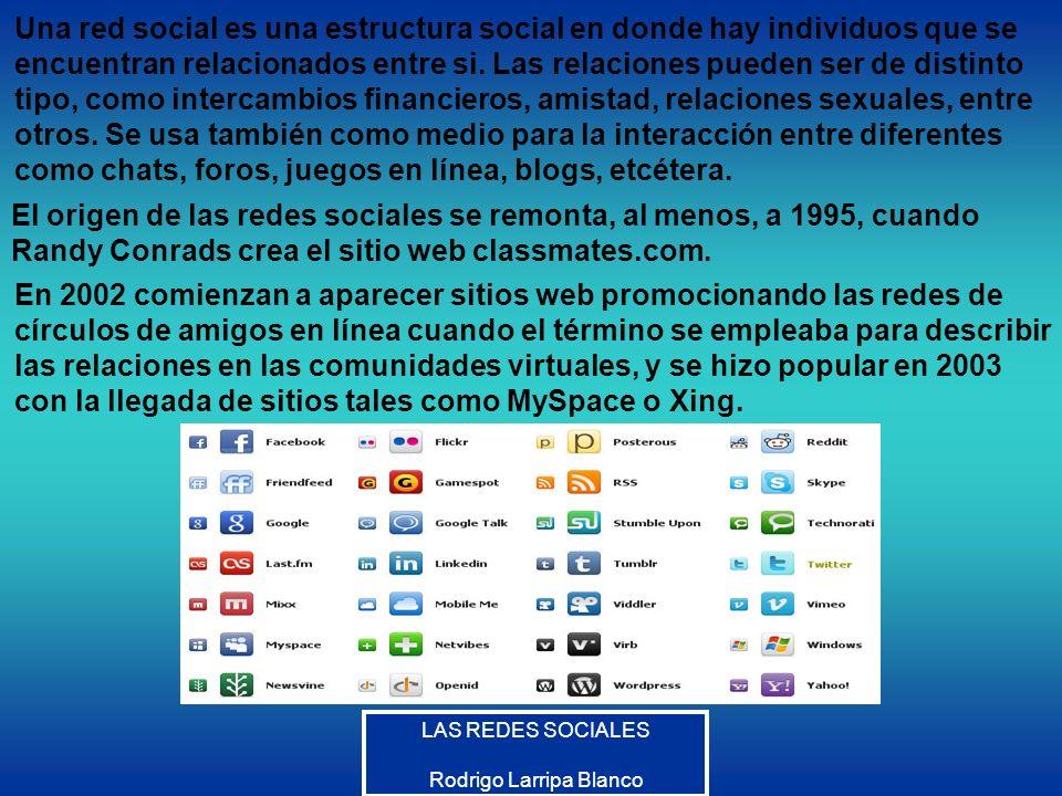 LAS REDES SOCIALES Rodrigo Larripa Blanco Una red social es una estructura social en donde hay individuos que se encuentran relacionados entre si. Las