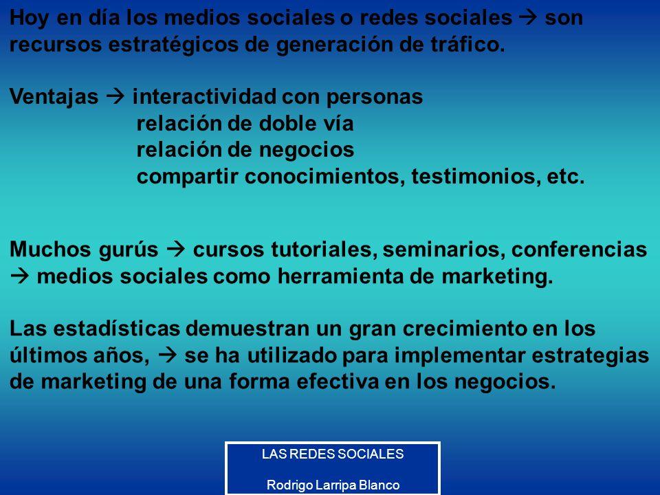 LAS REDES SOCIALES Rodrigo Larripa Blanco Las redes sociales son estructuras sociales compuestas de grupos de personas, las cuales están conectadas por uno o varios tipos de relaciones, tales como amistad, parentesco, intereses comunes o que comparten conocimientos.