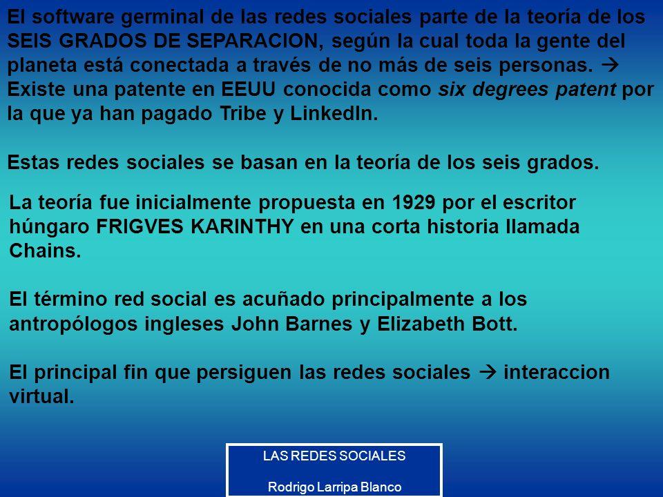 LAS REDES SOCIALES Rodrigo Larripa Blanco El software germinal de las redes sociales parte de la teoría de los SEIS GRADOS DE SEPARACION, según la cua
