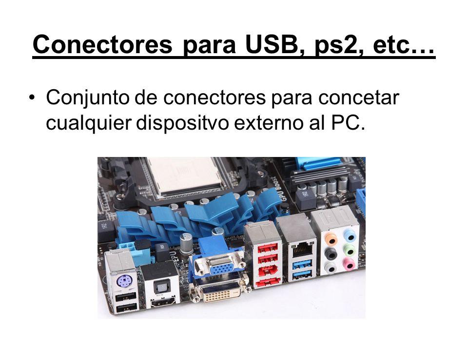 Conectores para USB, ps2, etc… Conjunto de conectores para concetar cualquier dispositvo externo al PC.