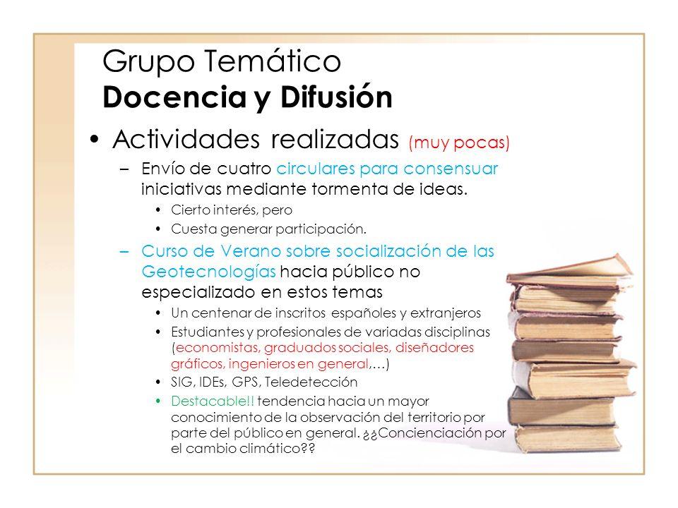 Grupo Temático Docencia y Difusión Actividades realizadas (muy pocas) –Envío de cuatro circulares para consensuar iniciativas mediante tormenta de ideas.