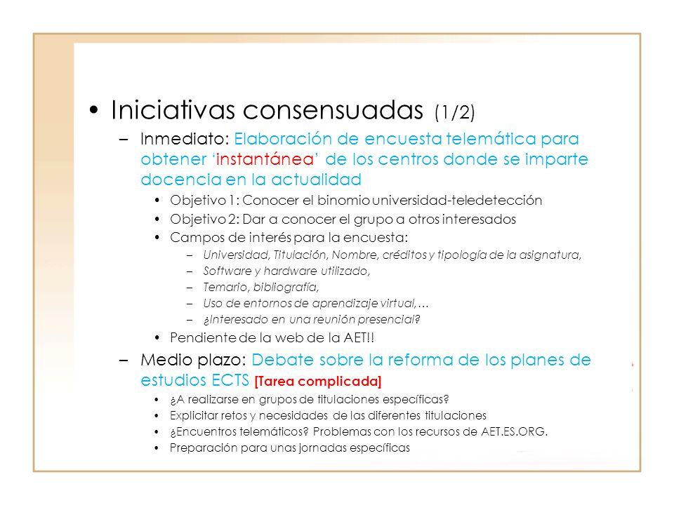 Iniciativas consensuadas (1/2) –Inmediato: Elaboración de encuesta telemática para obtener instantánea de los centros donde se imparte docencia en la