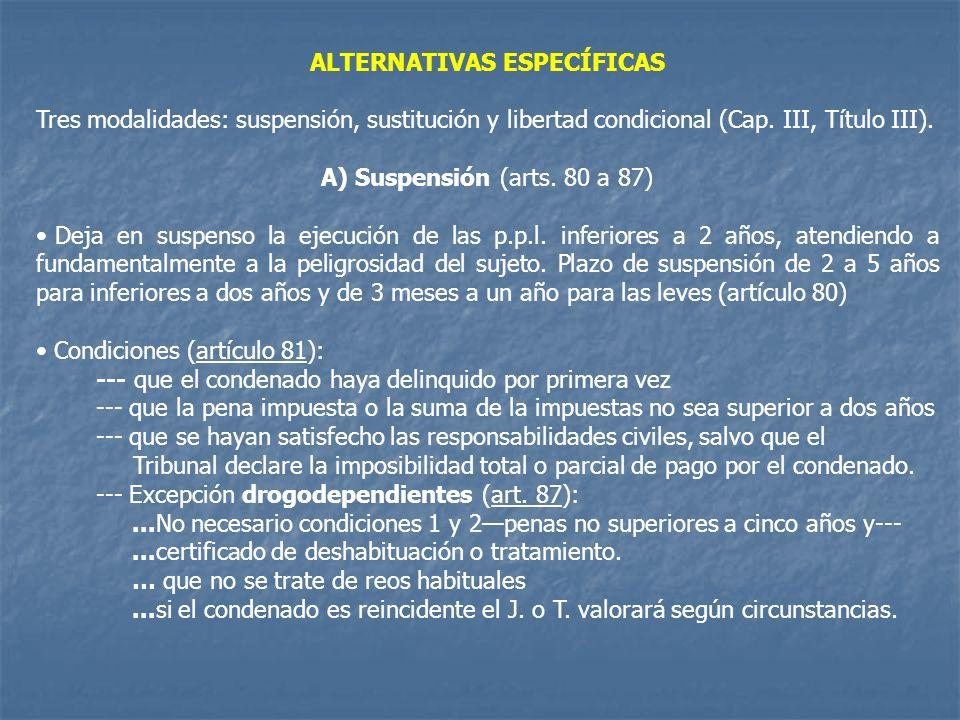 ALTERNATIVAS ESPECÍFICAS Tres modalidades: suspensión, sustitución y libertad condicional (Cap. III, Título III). A) Suspensión (arts. 80 a 87) Deja e