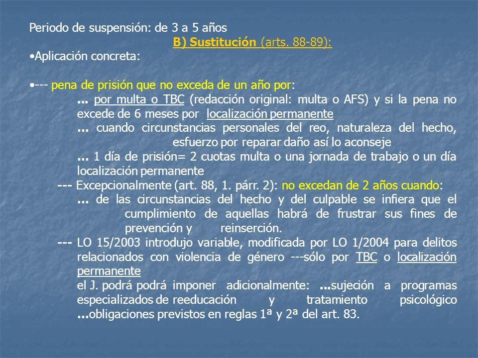 Periodo de suspensión: de 3 a 5 años B) Sustitución (arts. 88-89): Aplicación concreta: --- pena de prisión que no exceda de un año por:... por multa