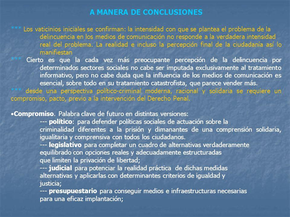 A MANERA DE CONCLUSIONES *** Los vaticinios iniciales se confirman: la intensidad con que se plantea el problema de la delincuencia en los medios de c