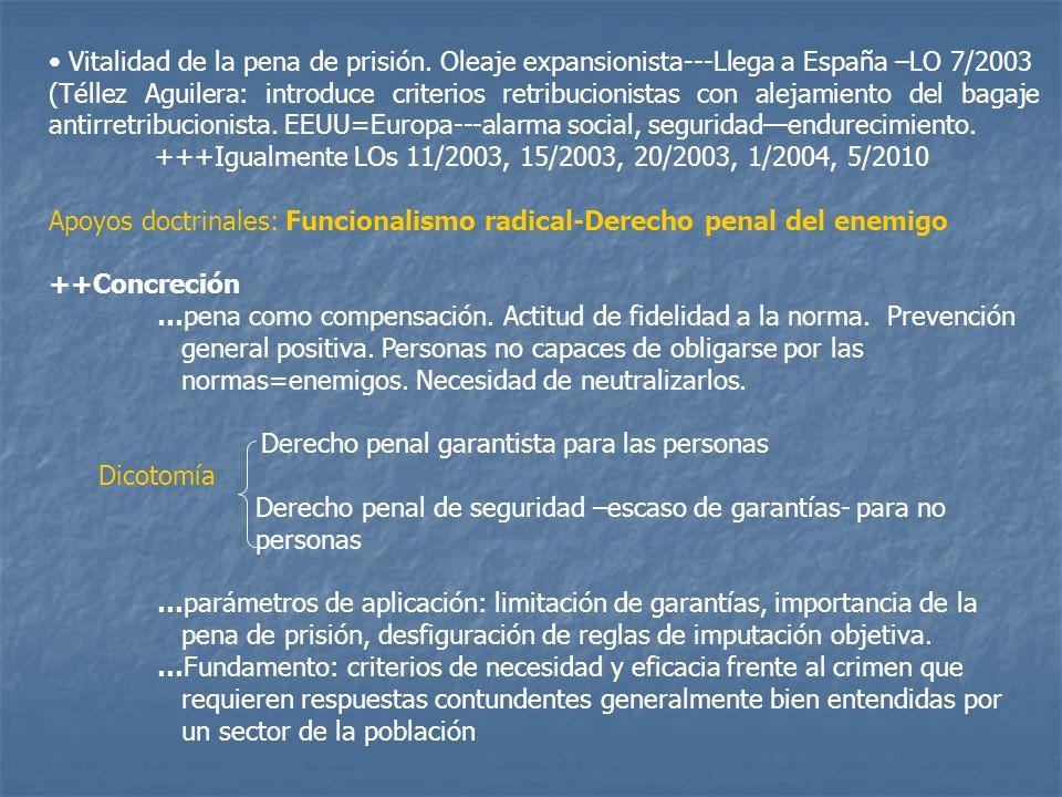 Vitalidad de la pena de prisión. Oleaje expansionista---Llega a España –LO 7/2003 (Téllez Aguilera: introduce criterios retribucionistas con alejamien