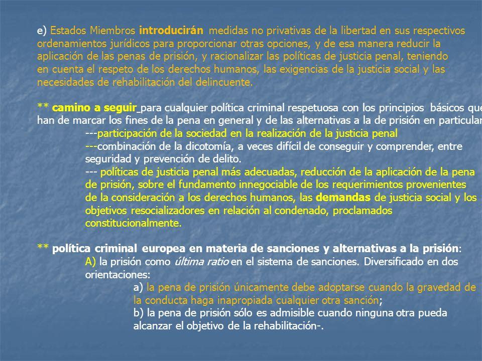 e) Estados Miembros introducirán medidas no privativas de la libertad en sus respectivos ordenamientos jurídicos para proporcionar otras opciones, y d