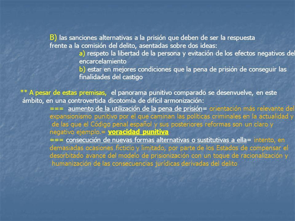 B) las sanciones alternativas a la prisión que deben de ser la respuesta frente a la comisión del delito, asentadas sobre dos ideas: a) respeto la lib