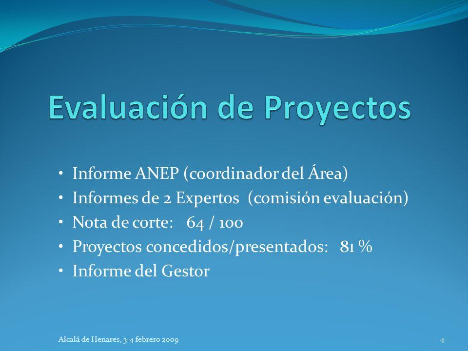 Informe ANEP (coordinador del Área) Informes de 2 Expertos (comisión evaluación) Nota de corte: 64 / 100 Proyectos concedidos/presentados: 81 % Inform