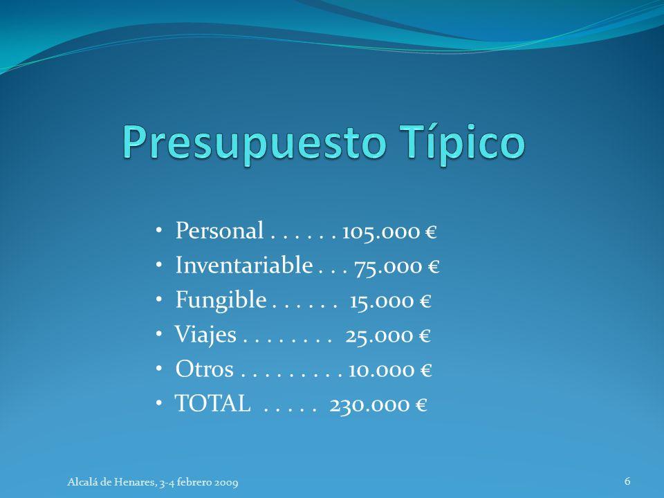 Personal...... 105.000 Inventariable... 75.000 Fungible...... 15.000 Viajes........ 25.000 Otros......... 10.000 TOTAL..... 230.000 Alcalá de Henares,