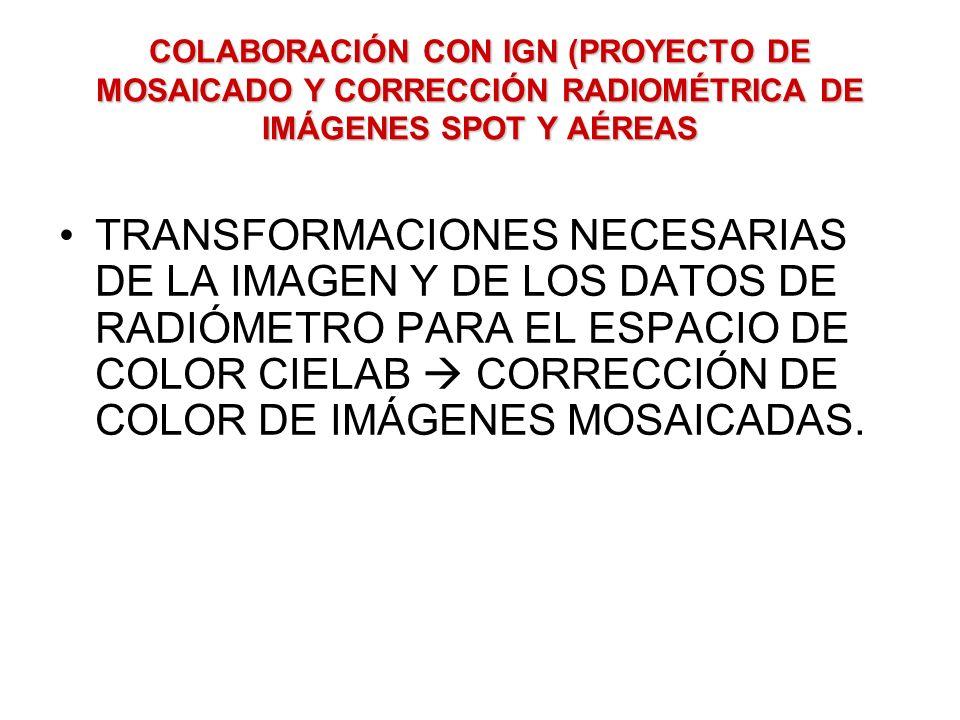 COLABORACIÓN CON IGN (PROYECTO DE MOSAICADO Y CORRECCIÓN RADIOMÉTRICA DE IMÁGENES SPOT Y AÉREAS TRANSFORMACIONES NECESARIAS DE LA IMAGEN Y DE LOS DATO