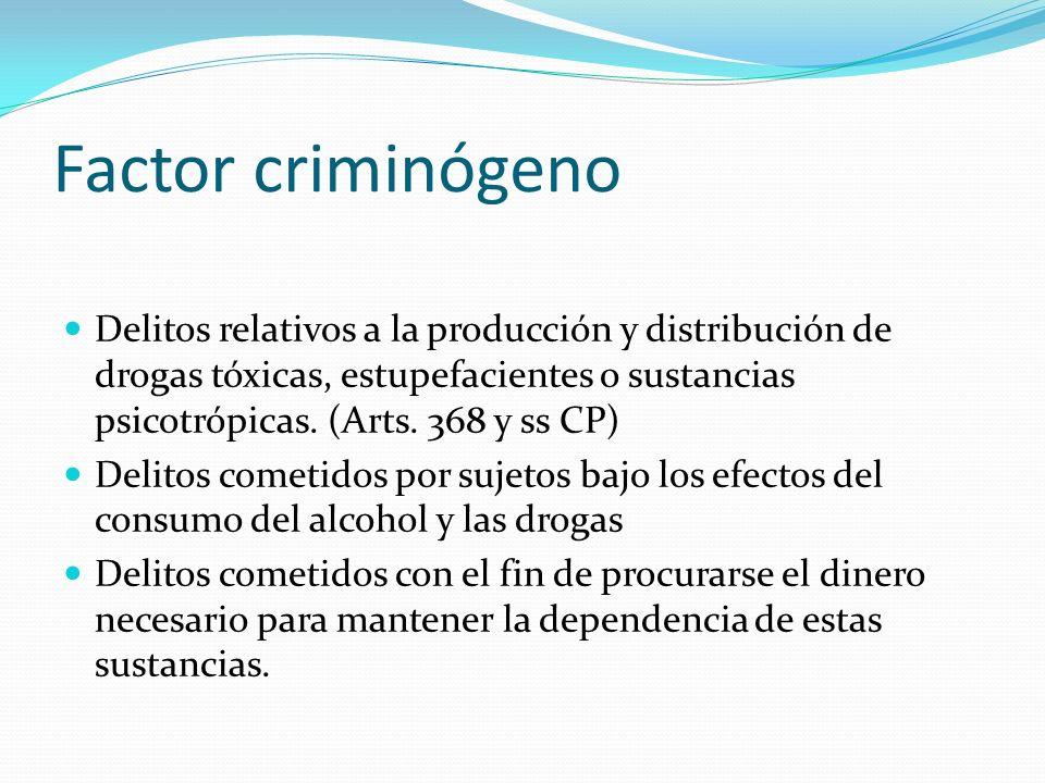 Factor criminógeno Delitos relativos a la producción y distribución de drogas tóxicas, estupefacientes o sustancias psicotrópicas. (Arts. 368 y ss CP)