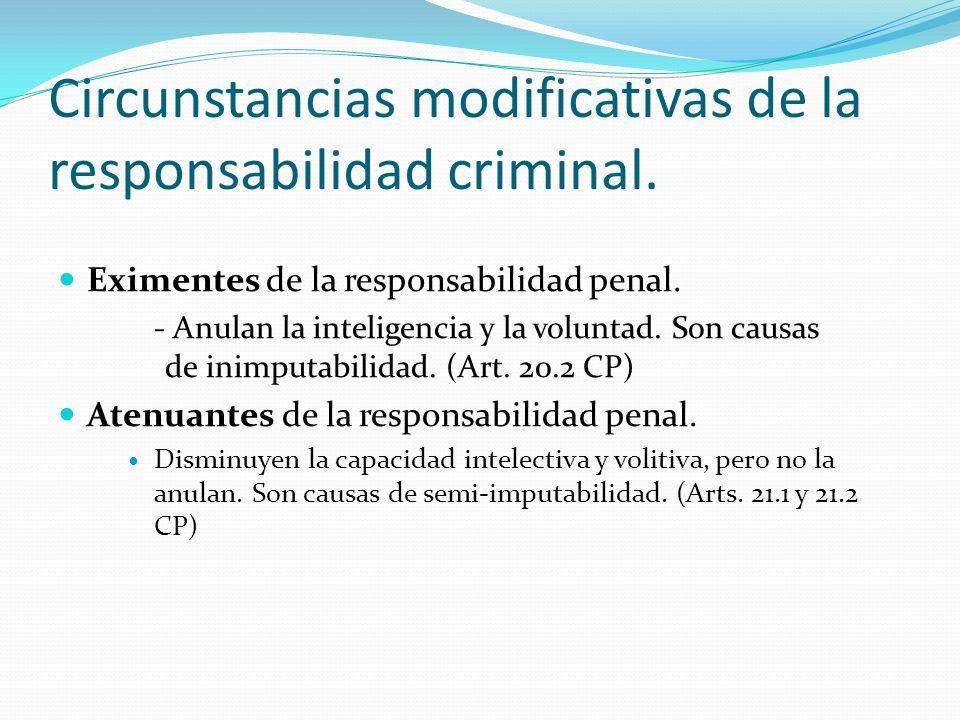 Circunstancias modificativas de la responsabilidad criminal. Eximentes de la responsabilidad penal. - Anulan la inteligencia y la voluntad. Son causas