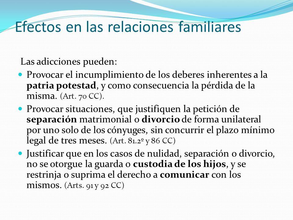 Efectos en las relaciones familiares Las adicciones pueden: Provocar el incumplimiento de los deberes inherentes a la patria potestad, y como consecuencia la pérdida de la misma.