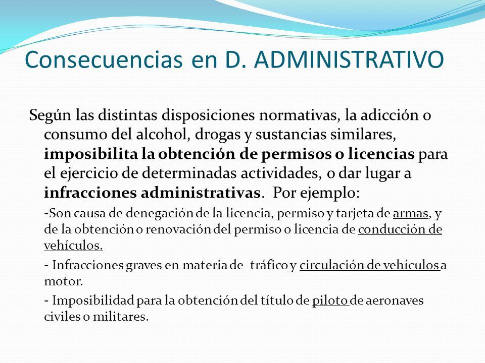 Consecuencias en D. ADMINISTRATIVO Según las distintas disposiciones normativas, la adicción o consumo del alcohol, drogas y sustancias similares, imp