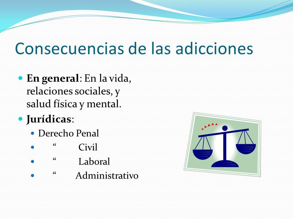 Consecuencias de las adicciones En general: En la vida, relaciones sociales, y salud física y mental. Jurídicas: Derecho Penal Civil Laboral Administr