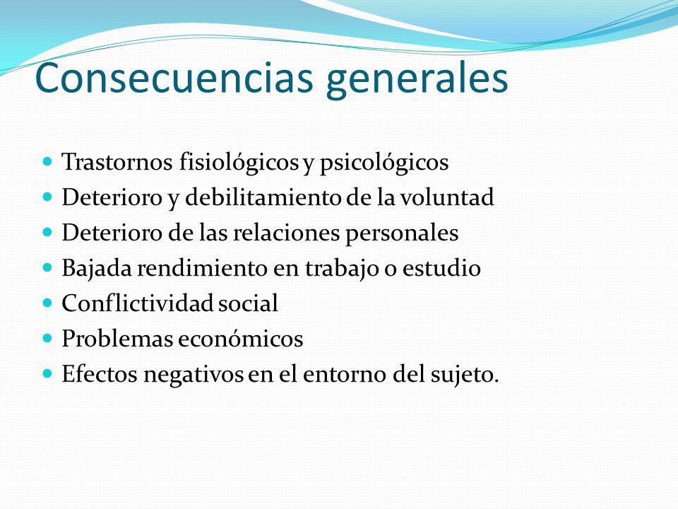 Consecuencias generales Trastornos fisiológicos y psicológicos Deterioro y debilitamiento de la voluntad Deterioro de las relaciones personales Bajada
