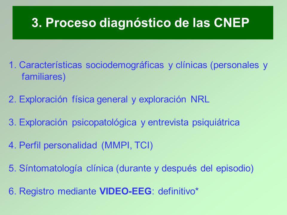 1. Características sociodemográficas y clínicas (personales y familiares) 2. Exploración física general y exploración NRL 3. Exploración psicopatológi