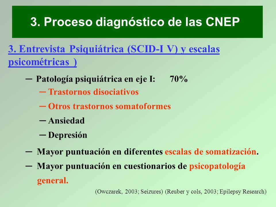 3. Entrevista Psiquiátrica (SCID-I V) y escalas psicométricas ) Patología psiquiátrica en eje I: 70% Trastornos disociativos Otros trastornos somatofo