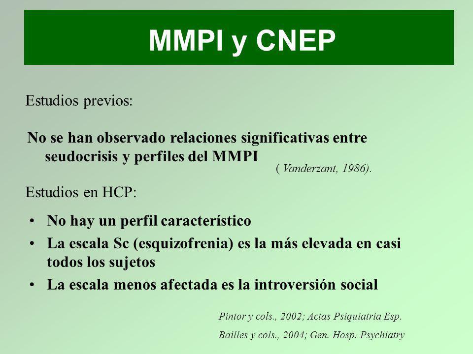 MMPI y CNEP No hay un perfil característico La escala Sc (esquizofrenia) es la más elevada en casi todos los sujetos La escala menos afectada es la in