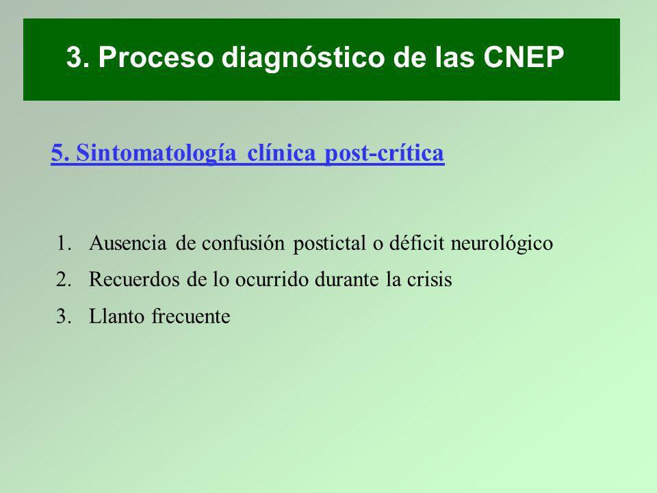 3. Proceso diagnóstico de las CNEP 1.Ausencia de confusión postictal o déficit neurológico 2.Recuerdos de lo ocurrido durante la crisis 3.Llanto frecu