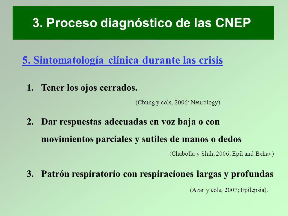 1.Tener los ojos cerrados. 3. Proceso diagnóstico de las CNEP 5. Sintomatología clínica durante las crisis (Chung y cols, 2006; Neurology) 2.Dar respu