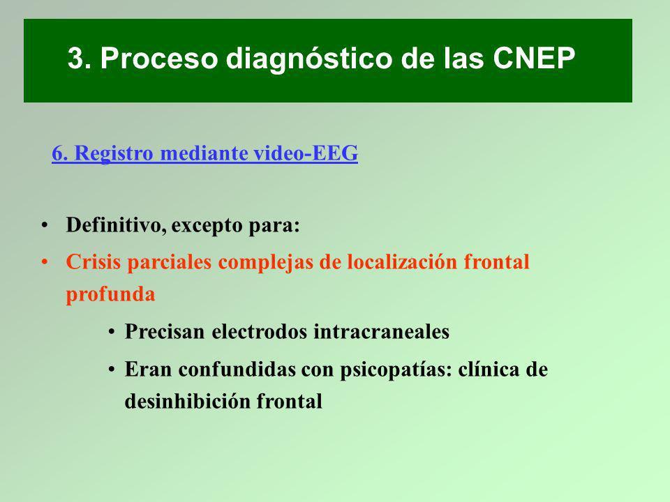 6. Registro mediante video-EEG Definitivo, excepto para: Crisis parciales complejas de localización frontal profunda Precisan electrodos intracraneale