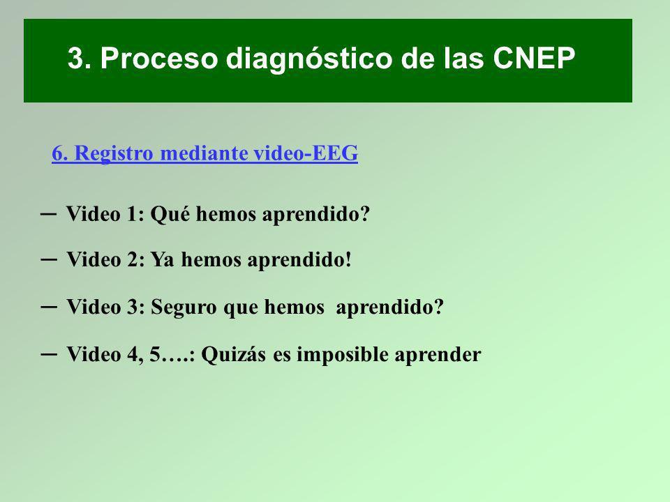 3. Proceso diagnóstico de las CNEP 6. Registro mediante video-EEG Video 1: Qué hemos aprendido? Video 2: Ya hemos aprendido! Video 3: Seguro que hemos